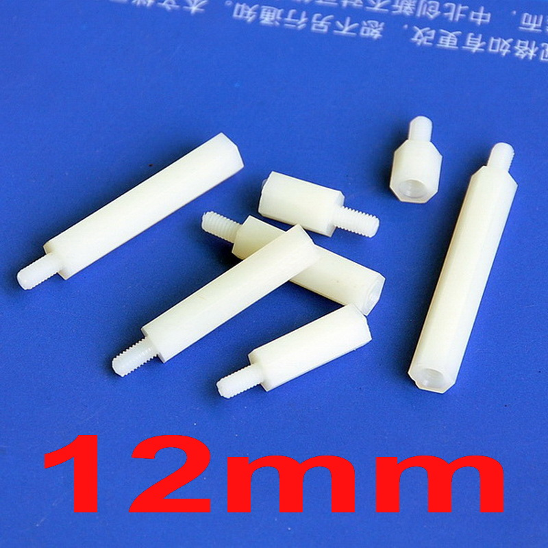 Electronics-Salon 10pcs 12mm 0.47 Nylon M2 Threaded Hex Male-Female Standoff Spacer.