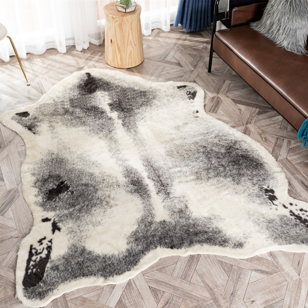 Large Size 170x220cm Cow Leopard Badger ZebraPrinted Cowhide Faux Skin Leather NonSlip Antiskid Mat Carpet For Living Room