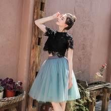 e9e194ef3 5 capas 60 cm princesa Midi tul Falda plisada danza tutú faldas Mujer Lolita  enaguas Jupe