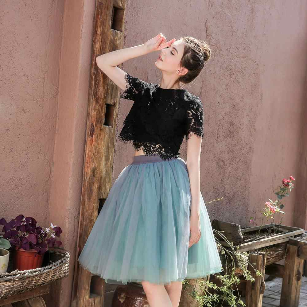 5 couches 60cm princesse Midi Tulle Jupe plissée danse Tutu jupes femmes Lolita jupon Jupe Saia faldas fête jupes bouffantes