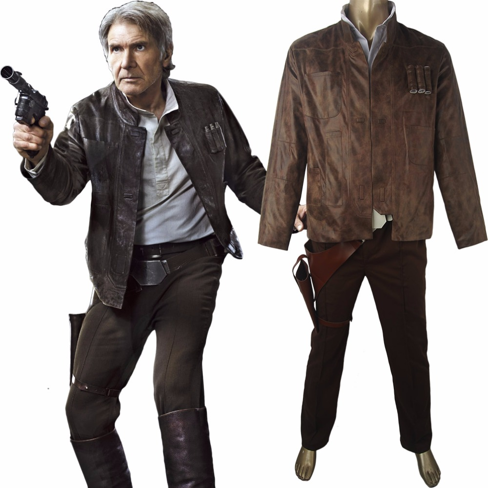 Star Wars VII 7 The Force Awakens Han Solo Jacket  Pants Outfit Uniform Halloween comic-con Cosplay Costume Men Adults
