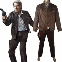 Star Wars VII 7 The Force Awakens Han Solo Jacket Pants Outfit Uniform Halloween comic con Cosplay Costume Men Adults
