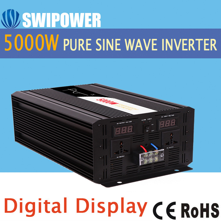 5000W pure sine wave solar power inverter DC 12V 24V 48V to AC 110V  220V digital display high quality 5000w peak 10000w pure sine wave inverter 12 24 48v dc to 110 220v ac pv solar inverter