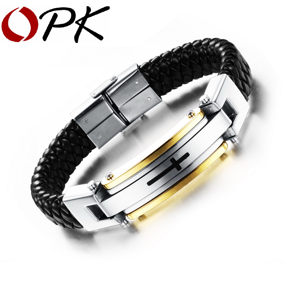 OPK Vintage Leather Wrap Bracelet For Man Fashion Handmade Knitted Bangle Black/Gold Color Full Steel Cross Men Jewelry PH916 opk punk cross bracelet for men length 16 5 21 cm mesh strap band stainless steel black gold color male wrap bracelets gh878
