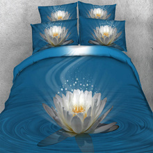 3/4PC 3D Comforter Cover 500TC Beauty White Flower Lotus Blue Bedding Set