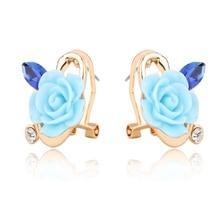2015 Newest Grandes Classic Rhinestone White Ceramic Flower Ear Cuff Earrings Syerigi Stud Earrings For Women Pendientes