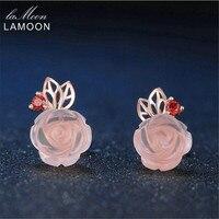 LAMOON 9mm Del Fiore della Rosa Naturale Rosa Quarzo Rosa fatta con 925 Sterling Silver Jewelry 18 K Oro Rosa Placcato Orecchini LMEI015