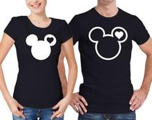 T Shirt Minnie Mickey Tshirt Couple Tops Plus Size T-shirt Cotton Set Gift for Boyfriend Black Grey XS-XXXL