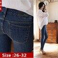 6 EXTRA GRANDES calças de Brim das Mulheres Novas de Inverno Mais Grossa de Veludo Mulher coreano Jeans Slim Calças Lápis Fino Pé Calças Livres grátis