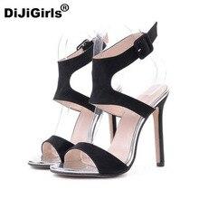 Dijigirls/Обувь на высоком каблуке женские летние замшевые черные пикантные женские открытые носком Обувь на высоком каблуке открытым носком сандалии женская обувь бесплатная доставка