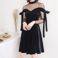 Sweet Cute Women Spring Dress Perspective Black Patchwork Ladies Clothing Spot Mesh Pleuche Retro Autumn Elegant