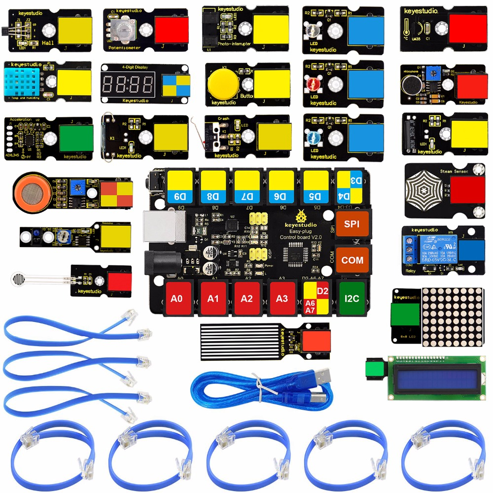 2019 NEW!Keyestudio EASY PLUG RJ11 Super Starter Learning Kit For Arduino STEM EDU/Compatible With Mixly Block Coding