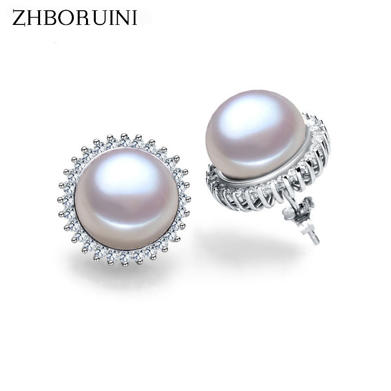 ZHBORUINI Fashion Pearl Kolczyki Pearl For Women Klasyczna Audrey Hepburn Freshwater pearl 925Sterling Silver Earrings Jewelry