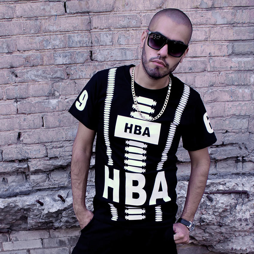 2015 New fashion brand Top male mens hiphop clothing trend summer Cotton O-neck Casual HBA HOOD BY AIR print slim t-shirt - Hiphop Dance's Club store