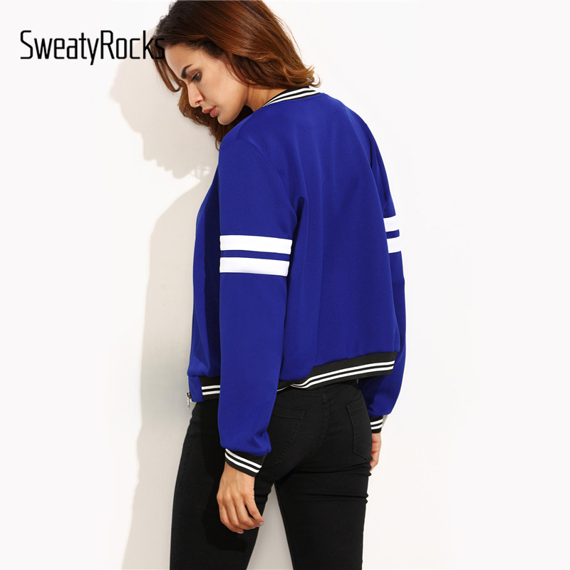 Image 2 - SweatyRocks Contrast Trim Varsity Baseball Jacket Women Blue 