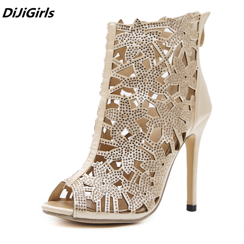 DiJiGirls 2018 Gorgeous queen high heels ankle boots women peep toe Crystal hollow golden heels women pumps sandals bottes femme ...