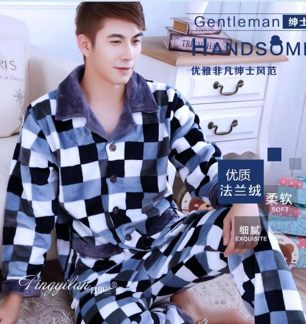 Pyjamas men Home clothes for men Autumn long-sleeved coral velvet men's pajamas Men 's suits