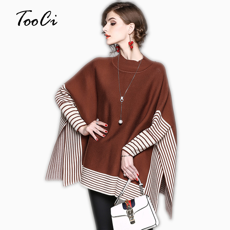 Bat Sleeve Knitting Pullover Female Women Autumn Winter Ponchos And Capes Knitted Wool Sweater Christmas Coat