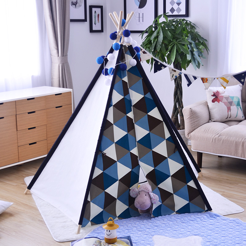 5-Pole Blue Triangle Kids Teepee Tent Wigwam Tipi Tent for Kids