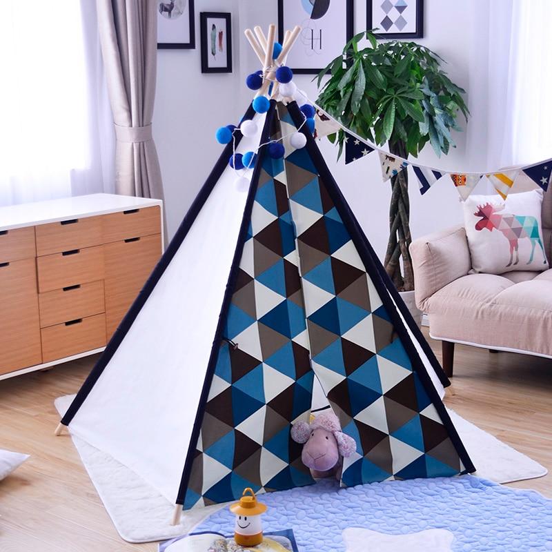 5-Pole Blue Triangle Kids Teepee Tent Wigwam Tipi Tent for Kids