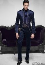 Latest Coat Pant Designs Navy Blue Satin Embroidery Men Suit Italian Long Tuxedo Slim Fit 2 Piece Dinner Suits Terno Masculino 5(China)