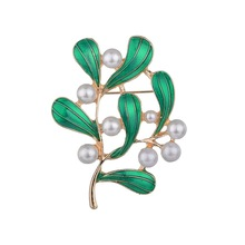 Fashion Handmade Colorful Imitation Pearl Flower Leaf Plants Brooch Crystal Rhinestone Collar Brooch Pin for Women Men Jewelry chic emboss figure leaf brooch for women