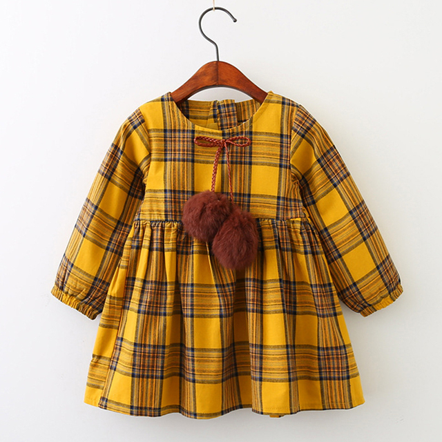 f2437be5a56ae US $6.99 30% OFF|Girls Autumn Dress 2019 New British Style Children Plaid  Fur Ball Bow Kids Clothes Dress Design For 3 7Y Baby Girls Dress Cloth-in  ...
