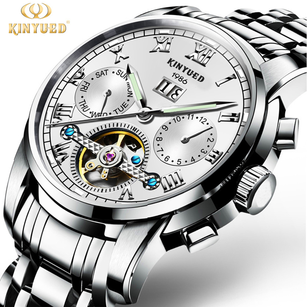 Kinyued Tourbillon Mechanical Watch Mens Skeleton Calendar Automatic Watch Men Stainless Steel Waterproof Mecanique Relogio  wholesale wilon mens stainless steel mechanical skeleton watch