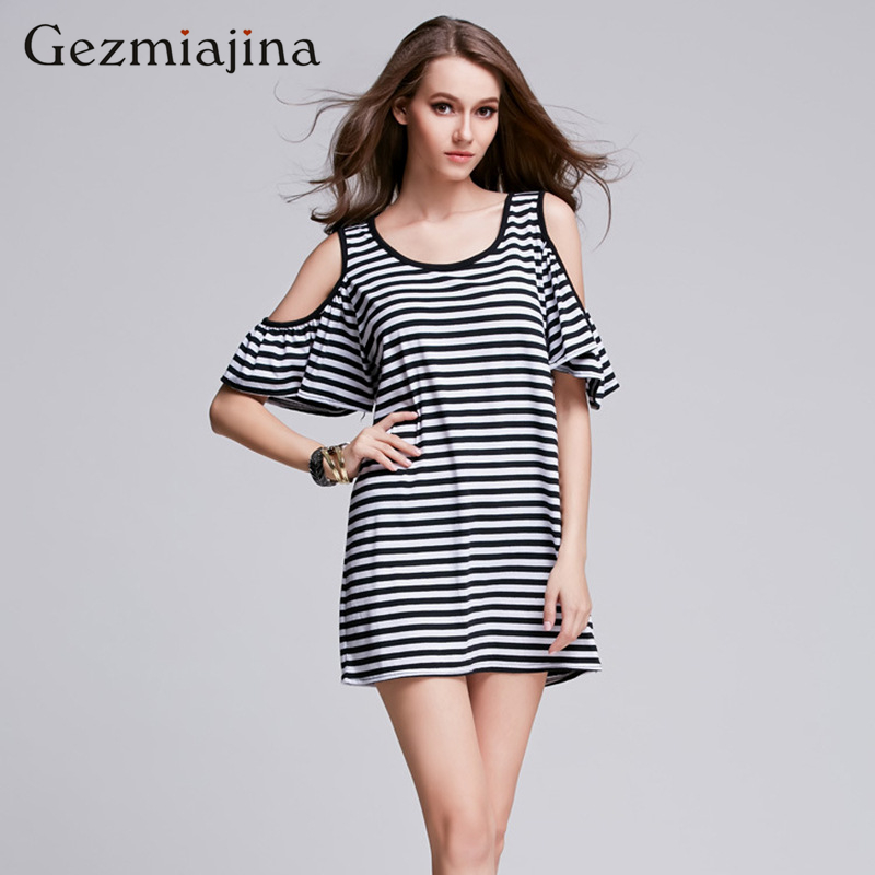Summer maternity clothing European and American hot style off-the-shoulder horn stripe loose short sleeves pregnancy women dress