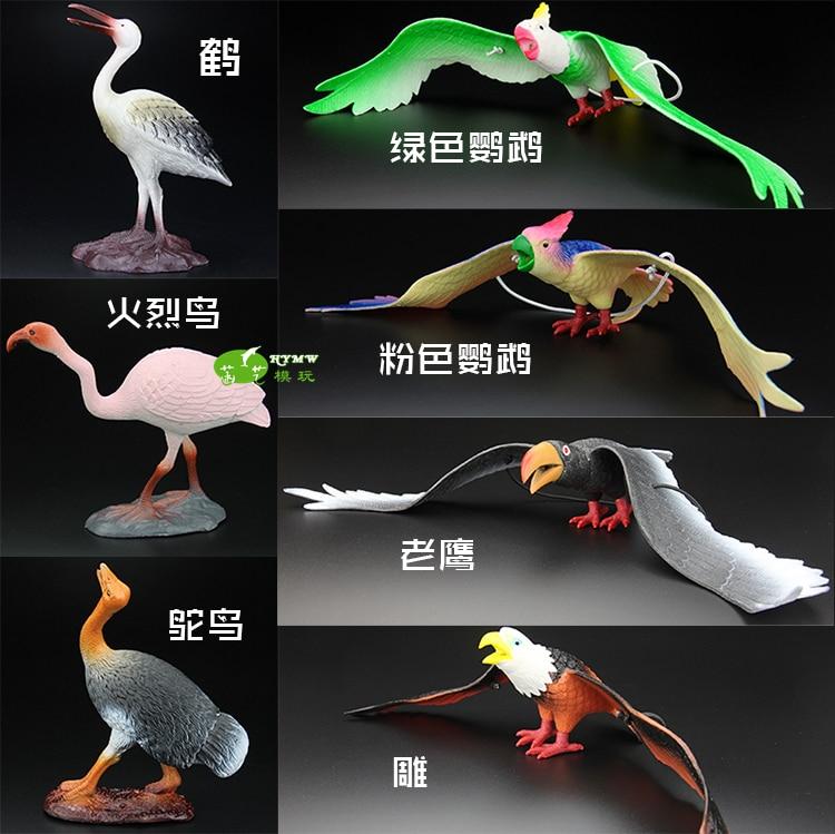 ФОТО co-friendly  plastic  simulation  model Simulation  large birds carved crane violent ostrich parrot eagle Children  toy 7PCS/lot