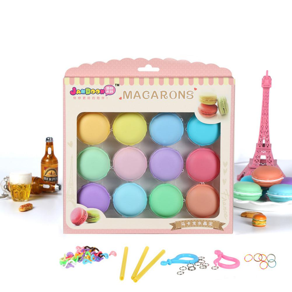 12pcs/set DIY Squishy Plasticine Colorful Macaron Crystal Slime Toys Blowing Bubbles Mud Funny Kids Gift Stress Reliever Toys