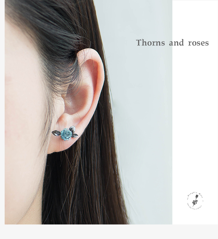 HTB1MQODJf9TBuNjy0Fcq6zeiFXaK Thaya s925 Silver Thorn Blue Crystal Rose Design Black Stud Earrings for Women Asymmetry Flower Earring Female Jewelry Gift