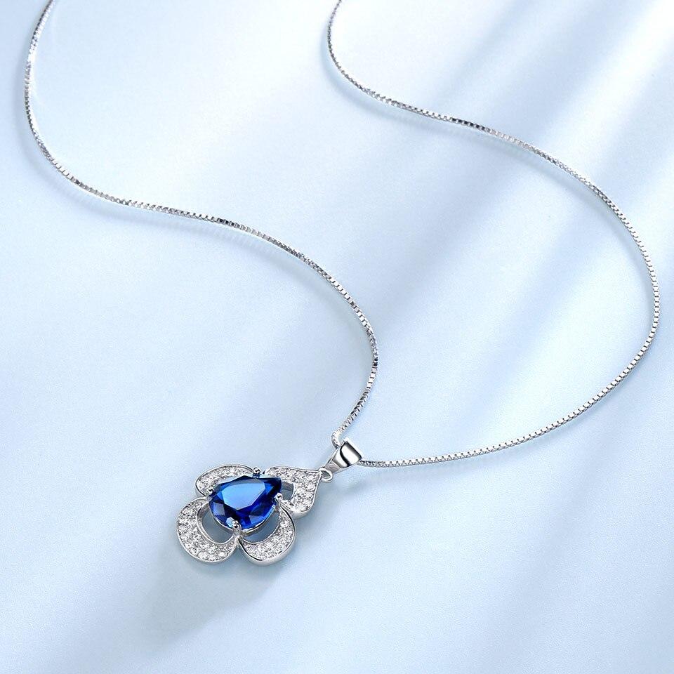 UMCHO classique Sapphoire anneaux bleus boucles d'oreilles collier pendentifs créé bagues saphir pour les femmes cadeau de mariage ensembles de bijoux-in Parures de bijoux from Bijoux et Accessoires    3