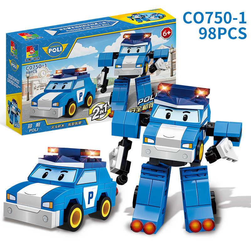 4 стиля Робокар Поли трансформация 2 в 1 машинка из конструктора рисунок кирпичи совместимый с legoingly Duplo кубики, детские игрушки