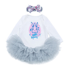 Easter Newborn Girls Set Long Sleeve Bodysuit Romper Cartoon Rabbit Tutu Skirt Baby Suit Outfit Clothes