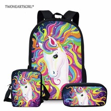 Twoheartsgirl Colorful Unicorn School Bag Set for Teenage Girls Cute Junior Primary Student Kids Schoolbags Children Bookbags