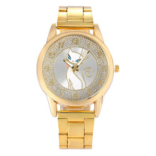 2016 New Women Wristwatches Ladies Cat Fashion Watches Luxury Diamond Gold Stainless Steel Quartz Watch Relogio Feminino