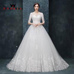 Robe De mariée индивидуальный заказ линии О образным вырезом Винтаж Свадебные платья кружево до Половина рукава 2019 Vestido De Noiva RO22