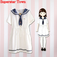 vestido verano mujer uniforme Vestido Las mujeres Vestidos de Verano A-Line Vestido de Marinero Japonés Kawaii Ropas School Ropa Vestido de Encantadora Mujer Harajuku Anime Vestido de escuela