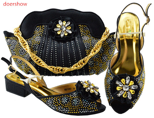 doershow Shoes and Bag To Match Italian black Color Women Shoe and Bag To Match for Parties African Shoe and Bag Sets PFG1-20 shoe and bag to match italian african wedding shoe and bag sets women shoe and bag to match for parties doershow bch1 16