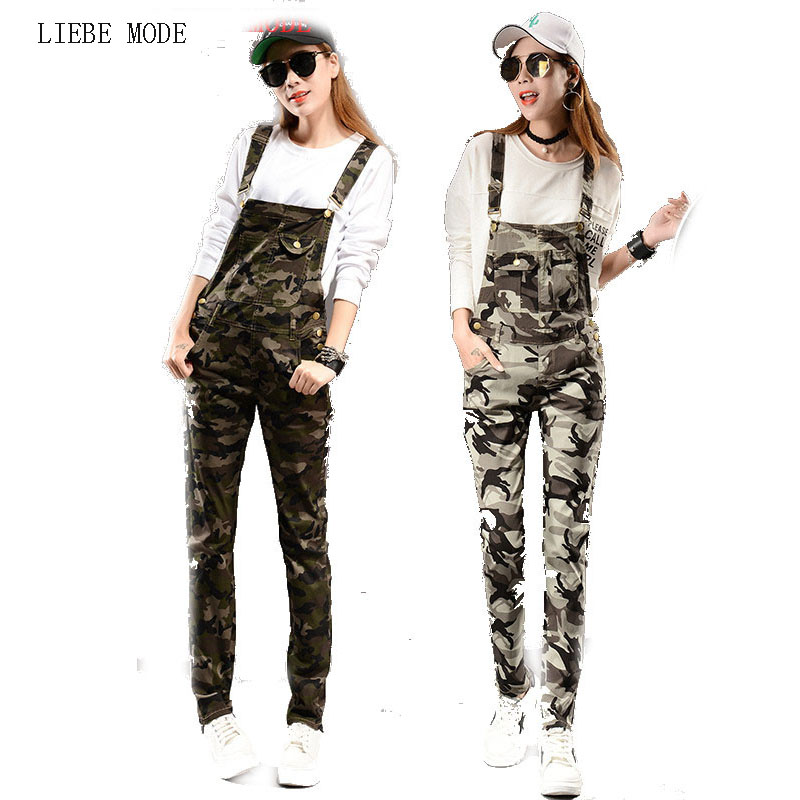 2019 Autumn Spring Camo Denim Jumpsuits Women Jean Overalls Pants Ladies Camouflage Jeans Female Slim Romper Combinaison Femme
