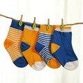 0 ~ 24 Meses Populares 4 Pares Calcetines Conjunto Bebé Niños y Niñas Calcetines de Algodón Puro Calcetines de Algodón Recién Nacido