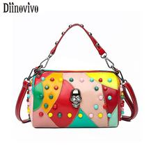 DIINOVIVO Colorful Patchwork Skull Crossbody Bags For Women Rivet Shoulder Bag Female PU Leather Handbags WHDV1211