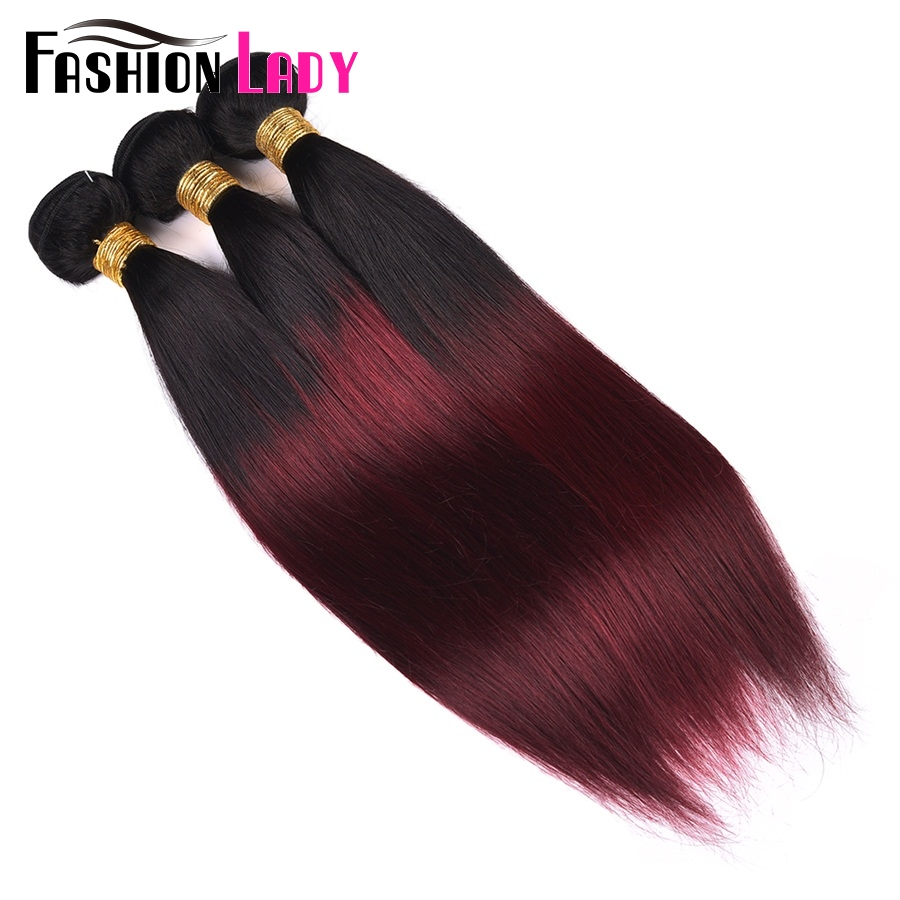 FASHION LADY Pre-Colored Indian Hair Ombre Human Hair Bundles T1B/99J Straight Hair Weave 1/3/4 Bundle Per Pack Non-Remy