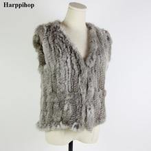 Осенне-зимний теплый жилет из натурального кроличьего меха, Женский вязаный меховой жилет в европейском стиле, жилет из меха енота и овцы, восемь стилей