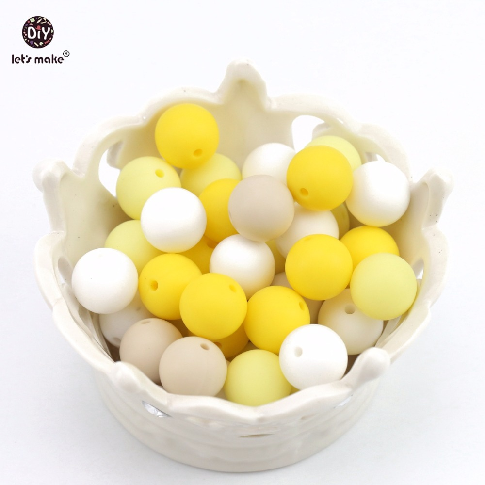 Let's Make Silicone Beads Yellow Series 12mm 10pc DIY Accessories Chewable Beads Food Grade Teething Nursing Baby Teether