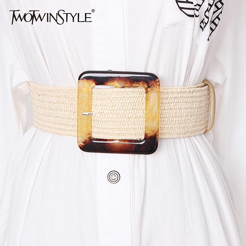 TWOTWINSTYLE Summer High Waist Slim Belt For Women Striped Wide Belts Vintage Dresses Accessories Female 2019 Fashion New Tide