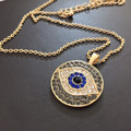 New Arab Crystal Evil Eyes Pendants Necklace Gold Plated Chain Round Lucky Statement Necklace for Women Gift collares 2015