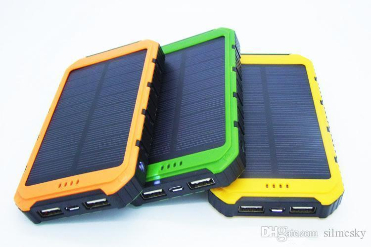 The new 10000mAh Power Bank Ultra-thin Waterproof Solar Power Banks 2A Output Cell Phone Portable Charger Solar Powerbank