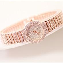 Luxury Womens Quartz Watch Full Rhinestone Elegant Dress Ladies Three Colors Optional